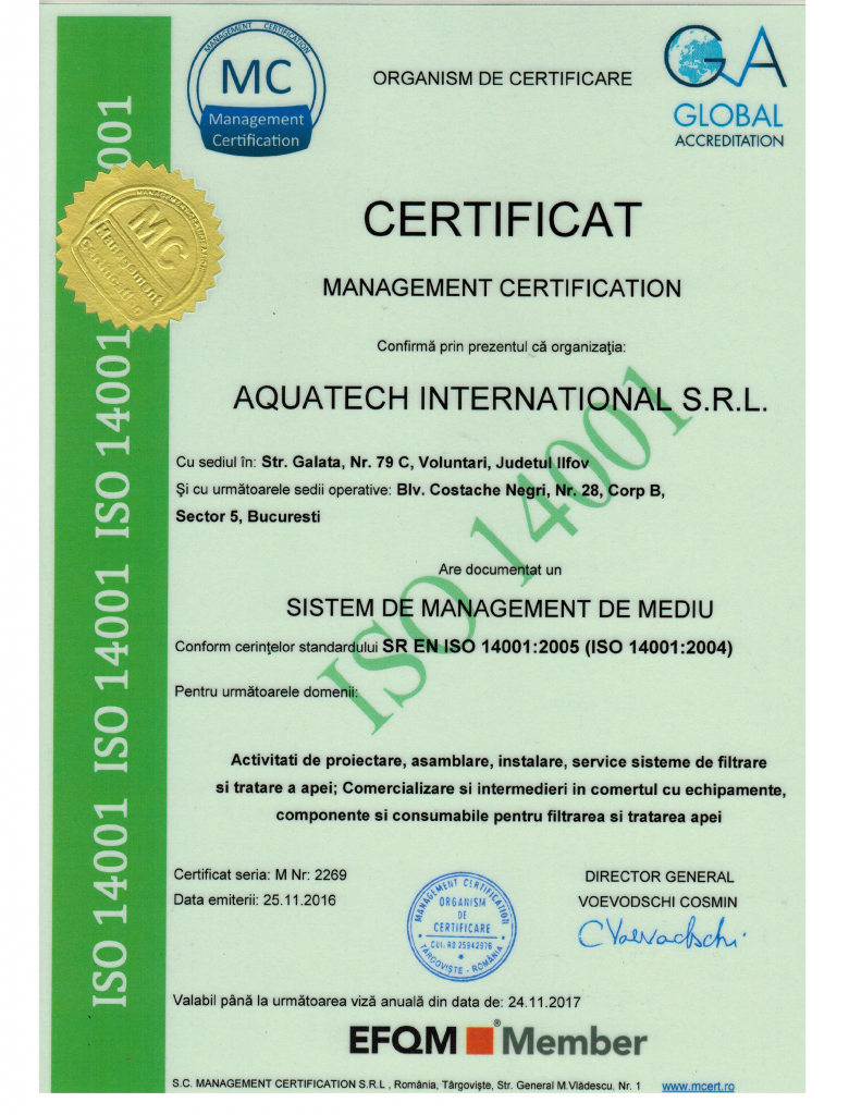Aquatech International Certificat Calitate Sistem de management de mediu 14001 001