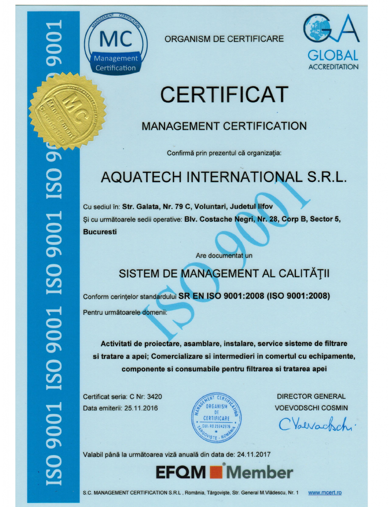 Aquatech International Certificat Calitate Sistem de management de mediu 9001 001